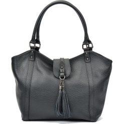 Torebki i plecaki damskie: Skórzana torebka w kolorze czarnym – (S)30 x (W)45 x (G)12 cm
