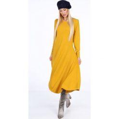 Sukienka asymetryczna musztardowa 1879. Szare sukienki asymetryczne marki Mohito, l, z asymetrycznym kołnierzem. Za 99,00 zł.