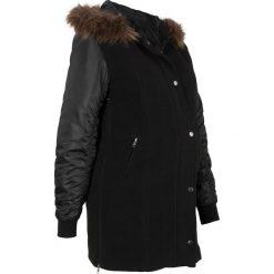 Krótki płaszcz ciążowy z materiału w optyce wełny, ocieplany bonprix czarny. Szare kurtki ciążowe marki bonprix. Za 269,99 zł.