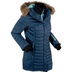 Długa kurtka outdoorowa pikowana bonprix ciemnoniebieski. Niebieskie kurtki damskie pikowane marki bonprix, z nadrukiem. Za 299,99 zł.