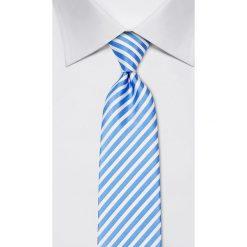 Krawaty męskie: Jedwabny krawat w kolorze błękitno-białym – szer. 8 cm