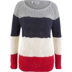 Sweter w paski bonprix biel wełny - czerwono- jasnoszary melanż - ciemnoniebieski w paski. Białe swetry klasyczne damskie bonprix, z wełny. Za 74,99 zł.