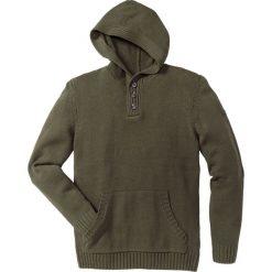 Swetry męskie: Sweter z kapturem Slim Fit bonprix ciemnooliwkowy