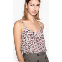 Bluzki damskie: Koszulka, dekolt w serek, kwiatowy nadruk