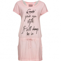 """Sukienka shirtowa z nadrukiem z przodu bonprix stary róż """"washed"""". Czerwone sukienki na komunię marki bonprix, z nadrukiem, retro, z okrągłym kołnierzem. Za 69,99 zł."""