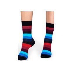 Skarpetki Happy Socks - Stripe (SA01-068). Szare skarpetki męskie Happy Socks, w kolorowe wzory, z bawełny. Za 34,90 zł.