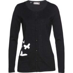 Sweter rozpinany bonprix czarno-biały. Czarne kardigany damskie marki bonprix, z nadrukiem. Za 89,99 zł.