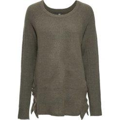 Swetry klasyczne damskie: Sweter dzianinowy bonprix zielono-szary melanż