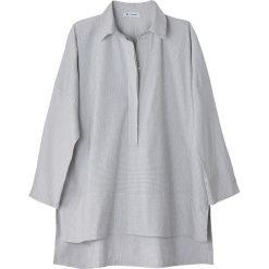Bluzki damskie: Bluzka polo w kratkę, rozcięcie przy mankietach