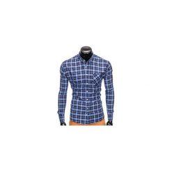 KOSZULA MĘSKA W KRATĘ Z DŁUGIM RĘKAWEM K396 - GRANATOWY/NIEBIESKI. Zielone koszule męskie na spinki marki Ombre Clothing, na zimę, m, z bawełny, z kapturem. Za 49,00 zł.