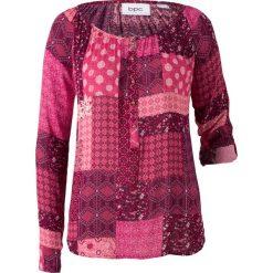 Tunika kreszowana, długi rękaw bonprix jeżynowo-czerwony wzorzysty. Czerwone tuniki damskie z długim rękawem marki bonprix. Za 59,99 zł.