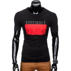 T-SHIRT MĘSKI Z NADRUKIEM S924 - CZARNY. Czarne t-shirty męskie z nadrukiem marki Ombre Clothing, m. Za 29,00 zł.