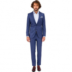 Zestaw w kolorze niebieskim - marynarka, spodnie. Niebieskie marynarki męskie marki GALVANNI, l, z okrągłym kołnierzem. Za 949,95 zł.