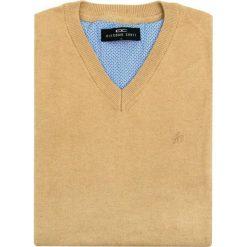 Sweter FABRIZIO SWE000037. Brązowe swetry klasyczne męskie Giacomo Conti, m, z bawełny, z klasycznym kołnierzykiem. Za 229,00 zł.