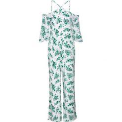 Kombinezon z nadrukiem bonprix biało-zielony w kwiaty. Białe kombinezony eleganckie bonprix, w kwiaty, na ramiączkach. Za 109,99 zł.