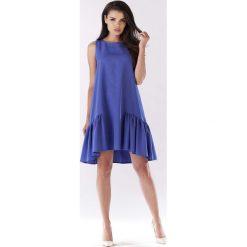 Niebieska Sukienka Wizytowa z Falbanką na Dole. Fioletowe sukienki marki Reserved, z falbankami. Za 129,90 zł.
