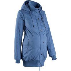 Kurtka ciążowa z kapturem i ściągaczem bonprix niebieski dżins. Niebieskie kurtki ciążowe marki bonprix, z nadrukiem. Za 219,99 zł.