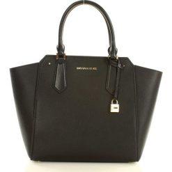 Luksusowa torebka tote MICHAEL KORS - HAYES - black/dark khaki. Brązowe kuferki damskie Michael Kors, w paski, ze skóry, zdobione. Za 1399,00 zł.