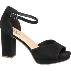 Sandały damskie 5th Avenue czarne. Czarne sandały damskie marki 5th Avenue, z materiału, na obcasie. Za 179,90 zł.