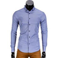KOSZULA MĘSKA ELEGANCKA Z DŁUGIM RĘKAWEM K350 - GRANATOWA. Niebieskie koszule męskie na spinki Ombre Clothing, m, z bawełny, z klasycznym kołnierzykiem, z długim rękawem. Za 49,00 zł.