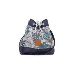 Mała torba worek Mili Chic MC8 - granatowa liście. Niebieskie torebki klasyczne damskie marki Militu, w paski, z bawełny, małe. Za 179,00 zł.