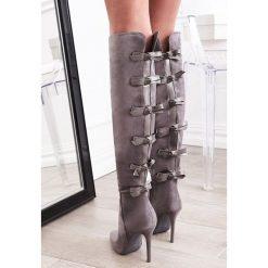 Szare Kozaki Fashionable Sue. Szare buty zimowe damskie vices, na wysokim obcasie. Za 129,99 zł.