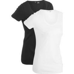 Długi t-shirt (2 szt.), krótki rękaw bonprix czarny + biały. Białe t-shirty damskie bonprix. Za 49,98 zł.