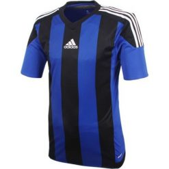 Koszulki do piłki nożnej męskie: Adidas Koszulka piłkarska męska Striped 15 czarno-granatowa r. XL (S16140)