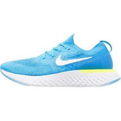 Nike Performance EPIC REACT FLYKNIT Obuwie do biegania treningowe blue glow/white/photo blue/volt glow. Niebieskie buty do biegania męskie marki Nike Performance, z materiału. W wyprzedaży za 511,20 zł.
