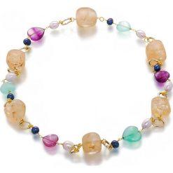 Bransoletki damskie na nogę: Bransoletka z kamieniami i perłami - (D)65 cm