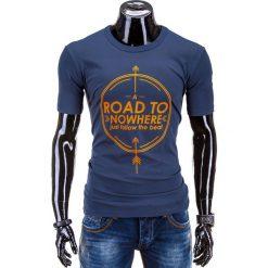 T-SHIRT MĘSKI Z NADRUKIEM S558 - GRANATOWY. Niebieskie t-shirty męskie z nadrukiem marki Ombre Clothing, m. Za 29,00 zł.