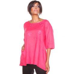 """Bluzki damskie: Lniana koszulka """"Shira"""" w kolorze koralowym"""