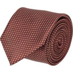 Krawat platinum brąz classic 201. Brązowe krawaty męskie Recman, w geometryczne wzory, z tkaniny, eleganckie. Za 49,00 zł.