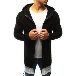 Swetry rozpinane męskie: Sweter męski rozpinany z kapturem czarny (wx0919)