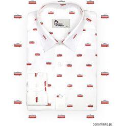 Koszula męska - Tramwaje. Białe koszule męskie na spinki marki Pakamera. Za 239,00 zł.