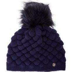 Czapki damskie: Granatowa marszczona czapka z pomponem QUIOSQUE