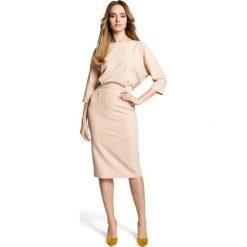 ROSETTA Sukienka odcinana w pasie z zakładkami - beżowa. Brązowe sukienki na komunię marki Moe, l, z bawełny. Za 179,90 zł.