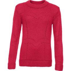Swetry klasyczne damskie: Sweter w ażurowy wzór bonprix czerwony