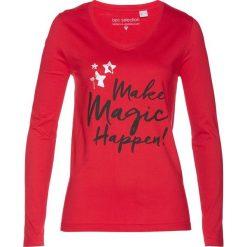 T-shirt bonprix czerwony. Czerwone t-shirty damskie bonprix, z nadrukiem. Za 34,99 zł.