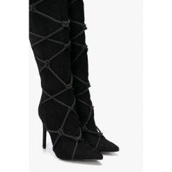 Missguided - Kozaki. Czarne buty zimowe damskie marki Missguided, z materiału, na obcasie. Za 319,90 zł.