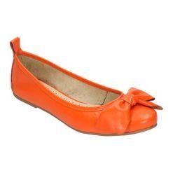 Baleriny damskie: Skórzane baleriny w kolorze pomarańczowym