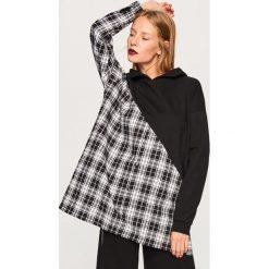 Długa bluza z łączonych materiałów - Czarny. Czarne długie bluzy damskie Reserved, l, z materiału, z długim rękawem. W wyprzedaży za 49,99 zł.