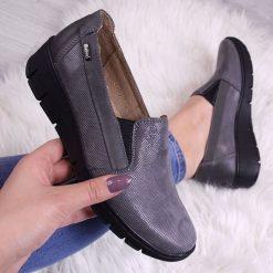 Buty ślubne damskie: Półbuty damskie skórzane na koturnie szare Helios 350