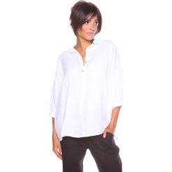 """Bluzki asymetryczne: Lniana bluzka """"Aria"""" w kolorze białym"""