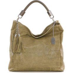 Torebki klasyczne damskie: Skórzana torebka w kolorze oliwkowym – 28 x 22 x 8 cm