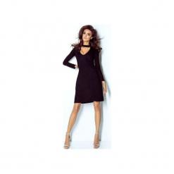 Sukienka Paula. Czarne długie sukienki ivon, do pracy, z bawełny, biznesowe, z dekoltem na plecach, z długim rękawem. Za 139,00 zł.