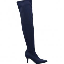 Kozaki za kolano Catwalk granat. Niebieskie kowbojki damskie Catwalk, z materiału, za kolano, na obcasie. Za 179,90 zł.