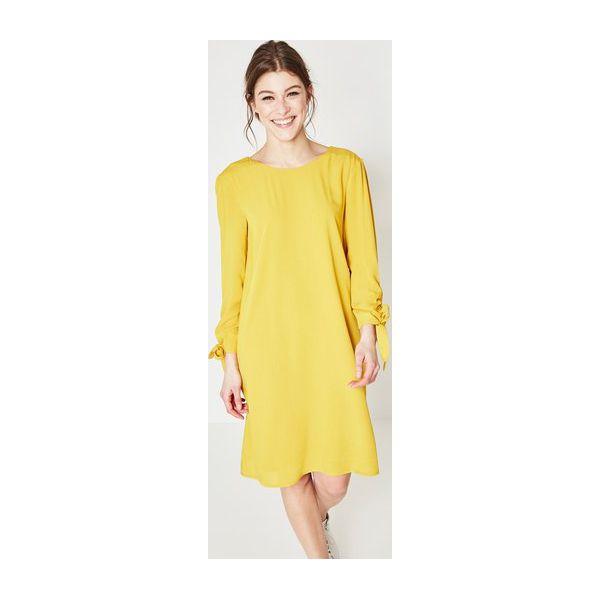 1764cb4125 Sukienka z odkrytymi plecami - Żółte sukienki damskie Promod
