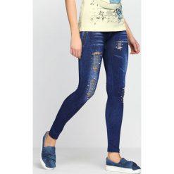 Spodnie damskie: Niebieskie Legginsy You Win