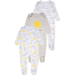 Mothercare UNISEX MODERN LAYETTE SLEEPSUIT BABY 3 PACK  Piżama grey. Niebieskie bielizna chłopięca marki mothercare, z bawełny. Za 159,00 zł.